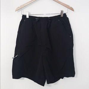 VINTAGE ADIDAS Black Nylon Shorts Loose Fit